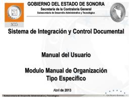 Manual de Organización Específico - sicad