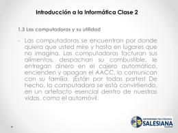 Introducción a la Informática segunda presentación