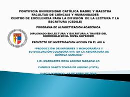 Producción de informes y monografías y su evaluación colaborativa