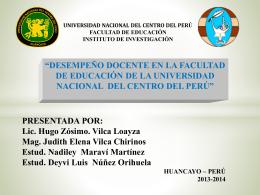 VILCA LOAYZA, Hugo Zósimo - Facultad de Educación