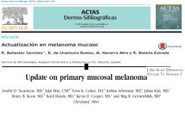 Actualización en melanoma mucoso. R. Ballester Sánchez, et al