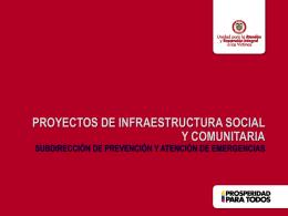 UARIV Apoyo a entes territoriales, proyectos de infraestructura