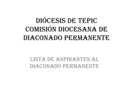 diócesis de tepic comisión diocesana de diaconado permanente