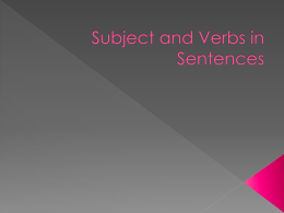 Subject and Verbs in Setences