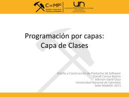 Programación por capas Capa de Clases
