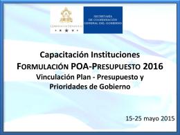 6-Vinculación Plan-Presupuesto y Prioridades Gobierno