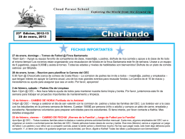 fechas importantes - Cloud Forest School