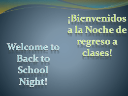 Welcome to Back To School Night - Bryant-Webster K