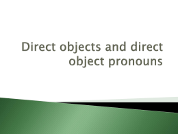 Power Point presentation on Direct Object Pronouns