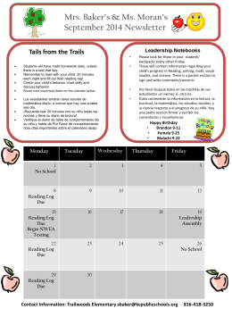 Mrs. Baker`s & Ms. Moran`s September 2014 Newsletter