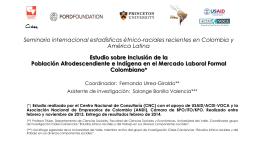Estudio sobre Inclusión de la población afrodescendiente