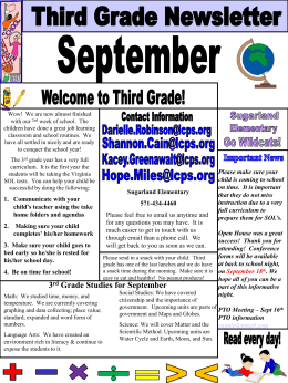 3 rd Grade Studies for September