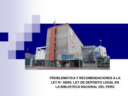 ley n° 26905, ley de depósito legal en la biblioteca nacional del perú