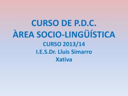 CURSO DE P.D.C. ÀREA SOCIO-LINGÜÍSTICA CURSO 2013/14