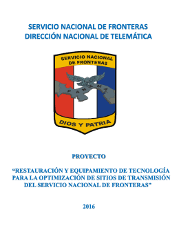 SERVICIO NACIONAL DE FRONTERAS DIRECCIÓN NACIONAL