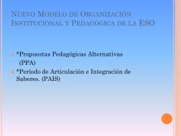 Nuevo Modelo de Organización Institucional y Pedagógica de la ESO