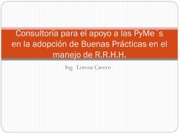 Lorena Cavero - Asesoria en Adopción de Buenas Prácticas en el