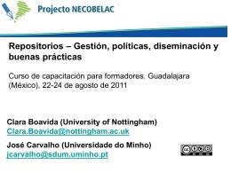 Repositorios - Gestión, políticas, diseminación y buenas prácticas