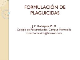 FORMULACIÓN DE PLAGUICIDAS - Campus Montecillo