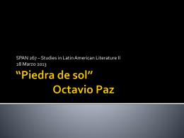 *Piedra de sol* Octavio Paz