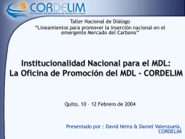 Institucionalidad nacional: la Autoridad