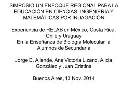 Experiencia de RELAB en México, Costa Rica, Chile y Uruguay en