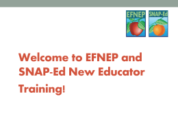 Start of Training - SNAP-Ed and EFNEP