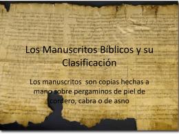 Los Manuscritos Bíblicos y su Clasificación
