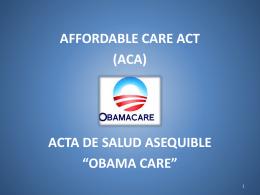 ley de cuidado de la salud a bajo precio. affordable care act