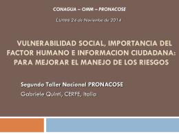 4. Vulnerabilidad social, importancia del factor humano