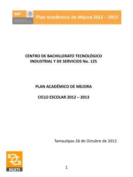 Plan Académico de Mejora 2012 – 2013