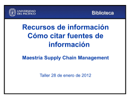 Maestría Supply Chain Management