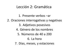 Lección 2: Gramática