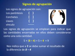algebra 5 signos de agrupacion