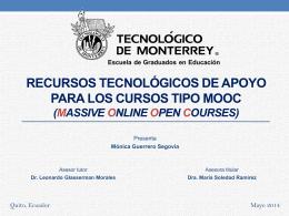 Recursos tecnológicos de apoyo para los cursos tipo MOOC