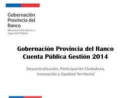 Gobernación Provincia del Ranco Cuenta Pública