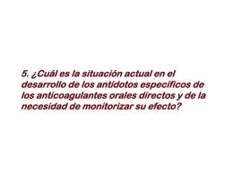 SESION II Monitorización del efecto de los anticoagulantes orales