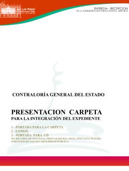 Presentación Carpeta para la integración de Expediente