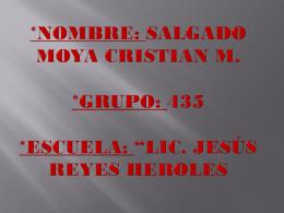 *NOMBRE: Salgado moya Cristian m. *Grupo: 435