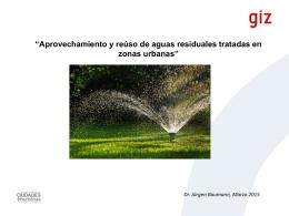 Aprovechamiento y reúso de aguas residuales tratadas en zonas