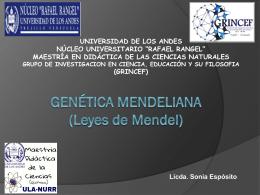 Genética Mendeliana - maestría en didáctica de las ciencias naturales
