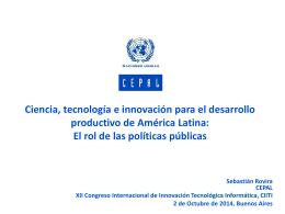Ciencia, tecnología y desarrollo productivo regional: El rol de las