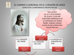 EL CAMINO CUARESMAL EN EL CORAZÓN DE JESÚS