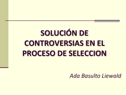 Solución de Controversias durante el Proceso de Selección
