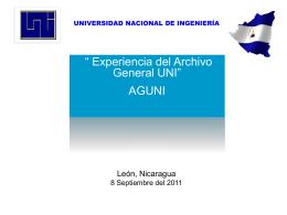 Experiencia del Archivo General de la UNI.