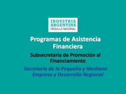 Programas de Asistencia Financiera