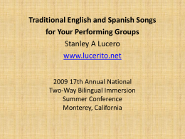 Traditional English and Spanish Songs for Your