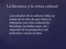 La literatura y la crítica cultural