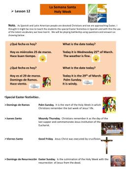 Semana Santa Lesson - Westcliff Primary School