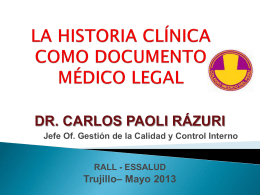 La Historia Clínica como Documento Médico Legal